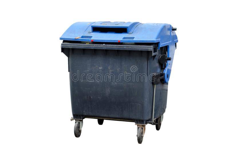 Industriell plast- utomhus- dumpster arkivfoton