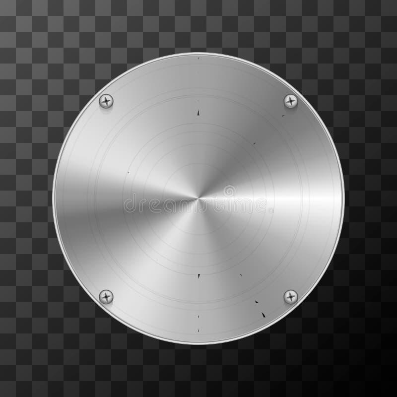 Industriell platta för glansig metall i rund form på genomskinligt royaltyfri illustrationer