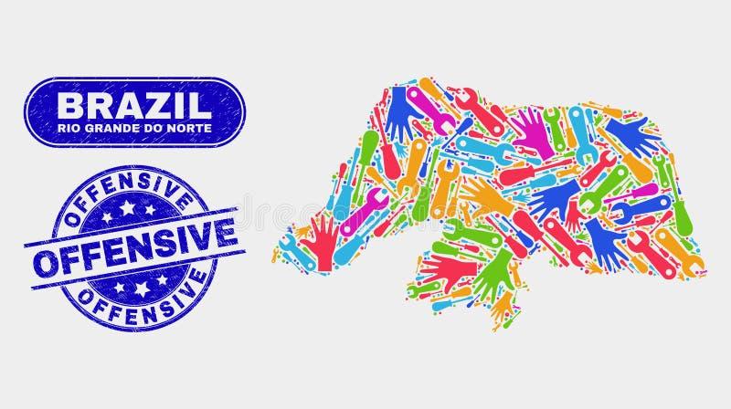 Industriell Rio Grande Do Norte State översikt och skrapade offensiva skyddsremsor stock illustrationer