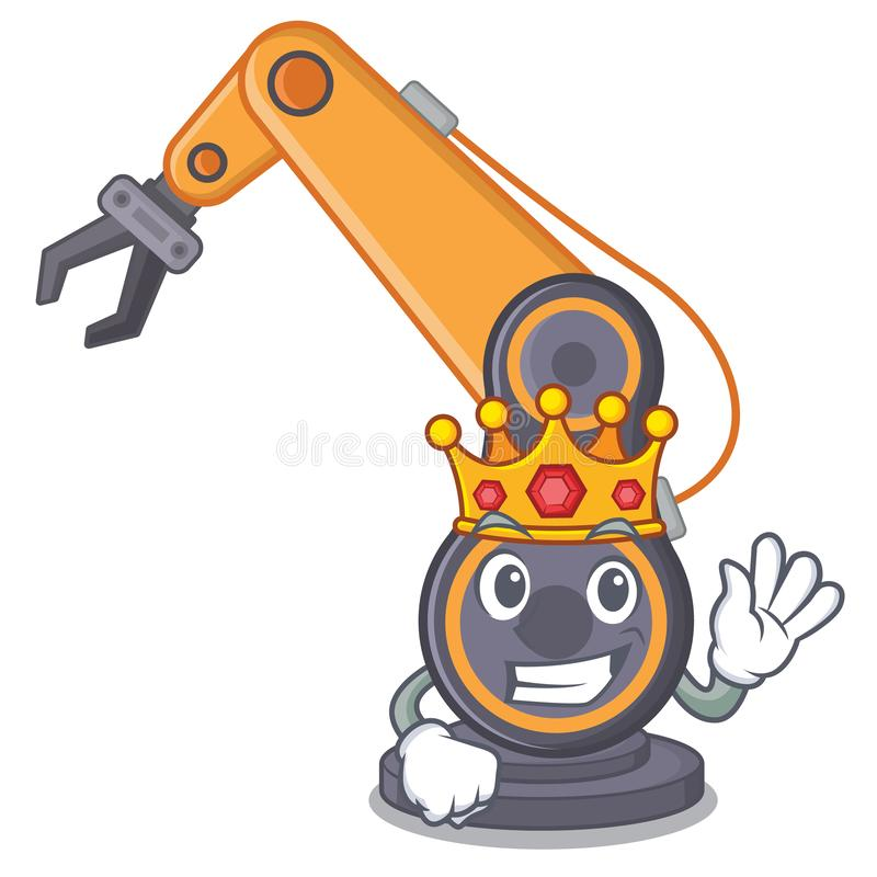 Industriell robotic hand för konung i cahracteren vektor illustrationer