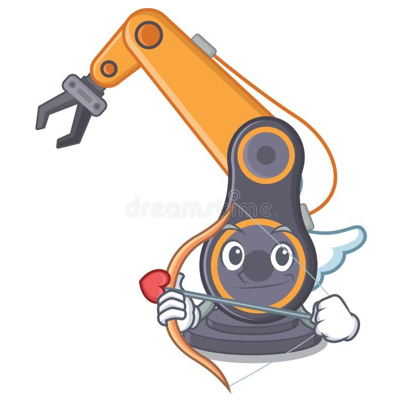 Industriell robotic hand för kupidon på maskotform stock illustrationer