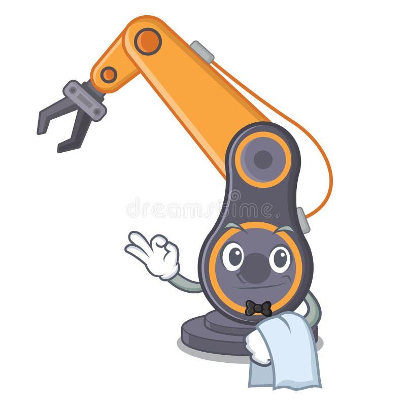 Industriell robotic hand för uppassare som isoleras med tecknade filmen vektor illustrationer