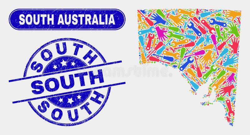 Industriell södra Australien översikt och skrapade södra vattenstämplar stock illustrationer