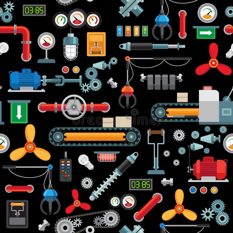 Industriell sömlös modell för maskineri royaltyfri illustrationer