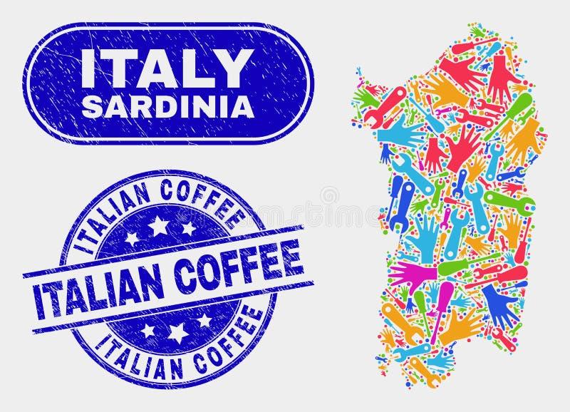 Industriell Sardinia översikt och att bedröva italienska kaffestämpelskyddsremsor vektor illustrationer