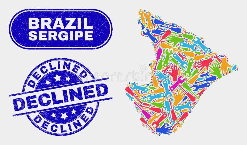 Industriell Sergipe tillståndsöversikt och Grunge gick ned skyddsremsor vektor illustrationer