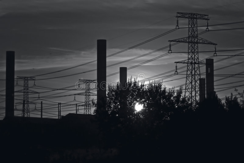 Download Industriell sky w för b fotografering för bildbyråer. Bild av industri - 30325