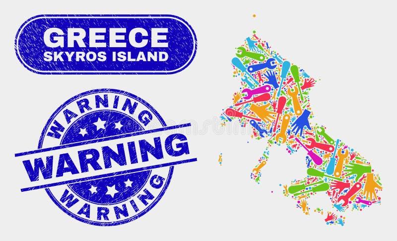 Industriell Skyros ööversikt och varnande stämpelskyddsremsor för Grunge stock illustrationer
