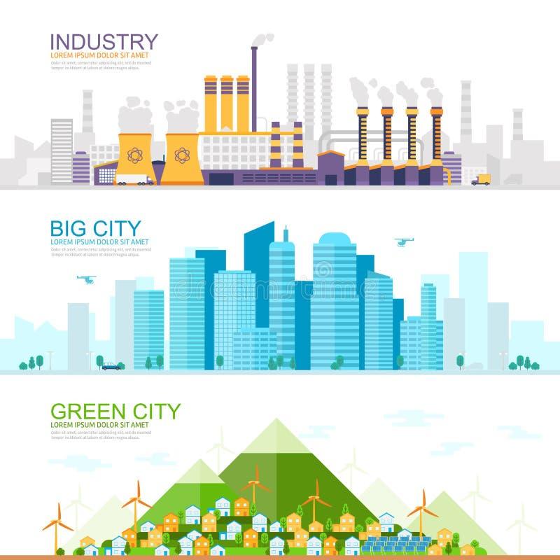 Industriell stad med tung bransch och fabriker, stor modern stad med skyskrapor, grön ecostad med förnybart royaltyfri illustrationer