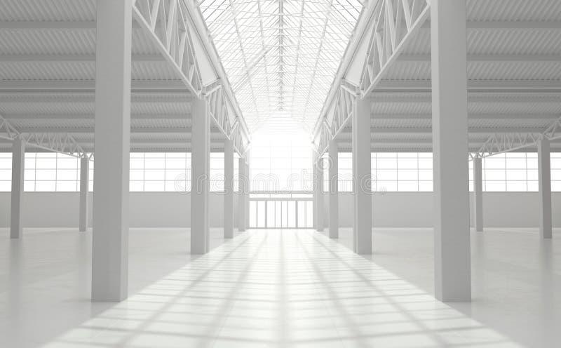 Industriell stads- inre av ett tomt lager i monokrom vit färg Stor vind-stil fabriksbyggnad framf?rande 3d vektor illustrationer