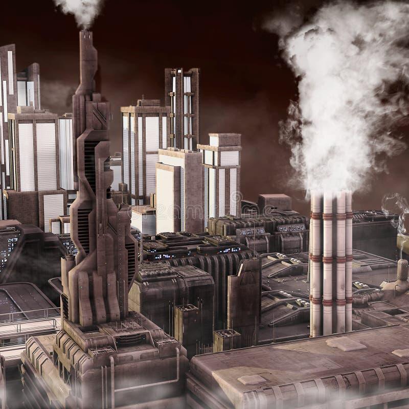industriell stadsframtid royaltyfri illustrationer