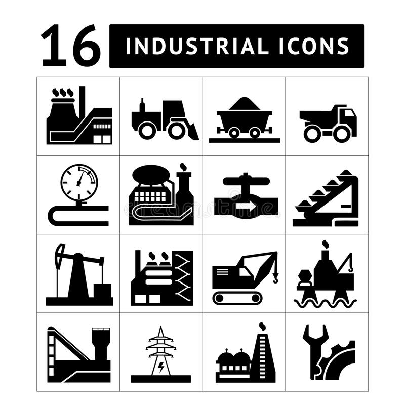 Industriell svart symbolsuppsättning royaltyfri illustrationer