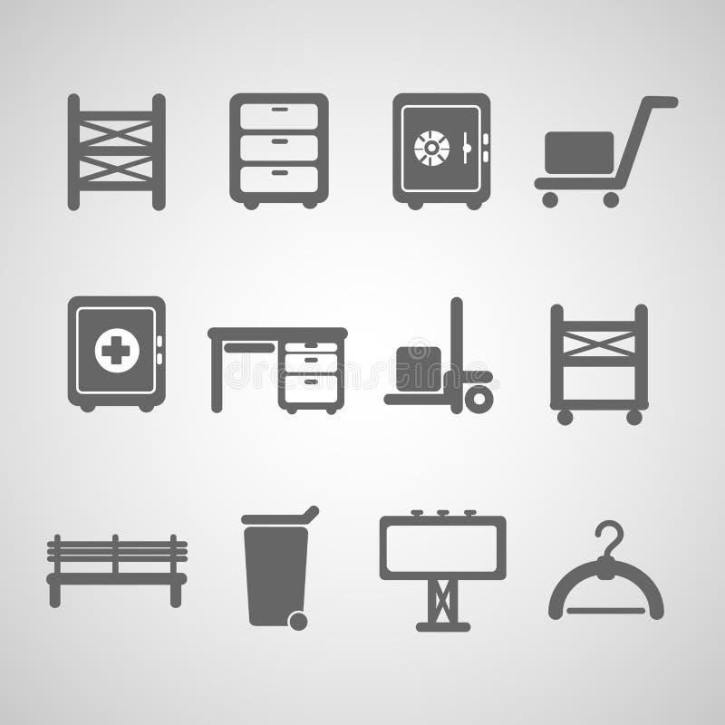 Industriell symbolsset stock illustrationer