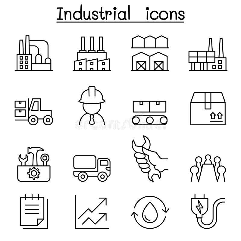 Industriell symbolsuppsättning i den tunna linjen stil royaltyfri illustrationer