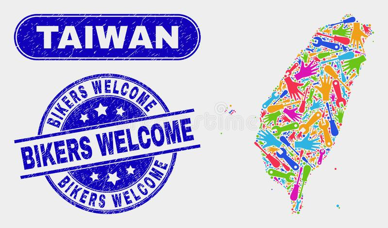 Industriell Taiwan översikt och välkomna skyddsremsor för nödlägecyklister royaltyfri illustrationer