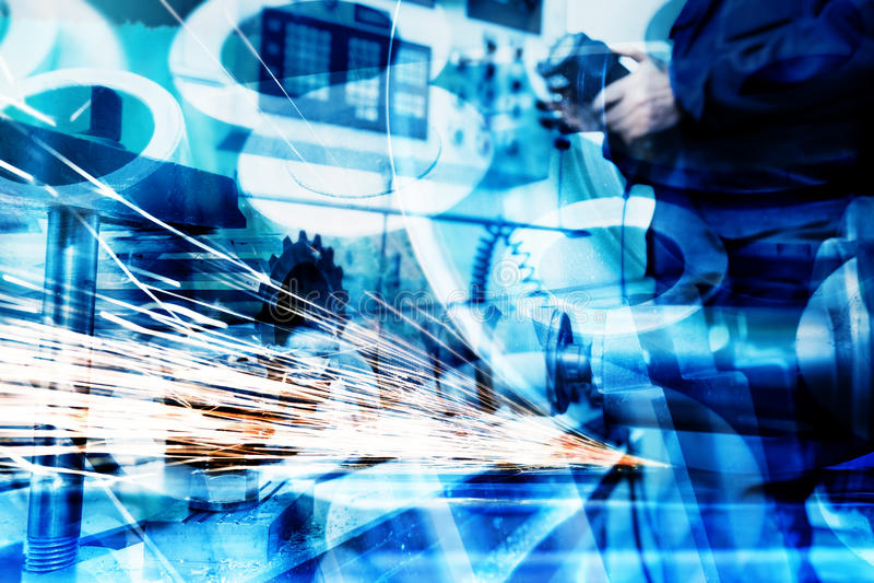 Industriell teknologiabstrakt begreppbakgrund Bransch fotografering för bildbyråer