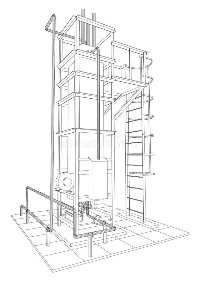 industriell utrustning för Tråd-ram fossila bränslen Spårande illustration av 3d vektor illustrationer