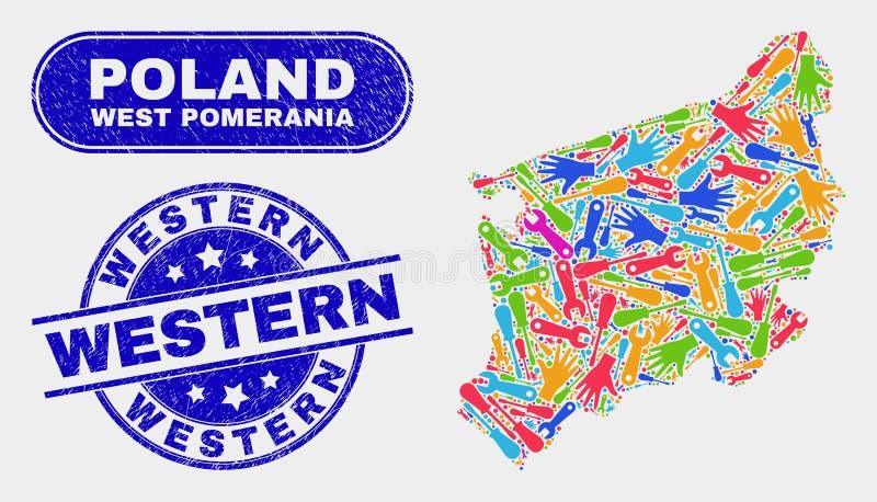 Industriell västra Pomeranian Voivodeship översikt och västra skyddsremsor för Grunge stock illustrationer