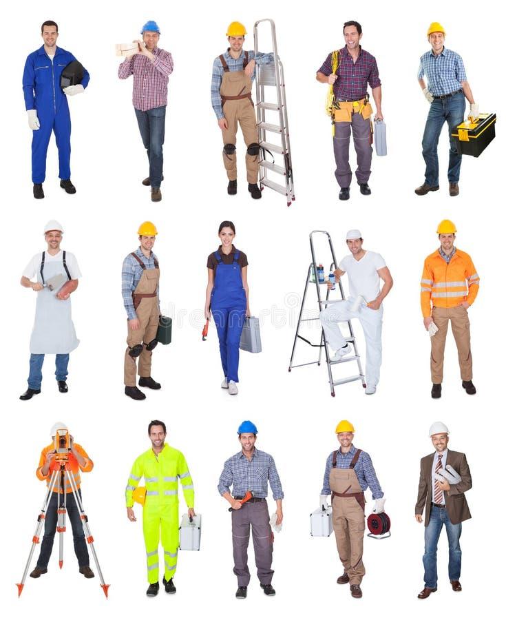 Industriella byggnadsarbetarear royaltyfria foton