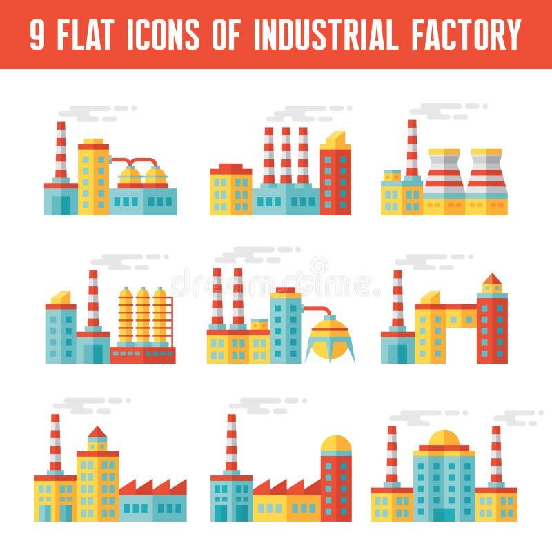 Industriella fabriksbyggnader - 9 vektorsymboler i plan design utformar royaltyfri illustrationer