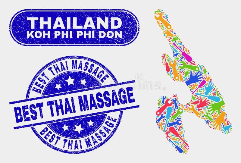 Industriella Koh Phi Don Map och att bedröva bästa thailändska massagevattenstämplar stock illustrationer