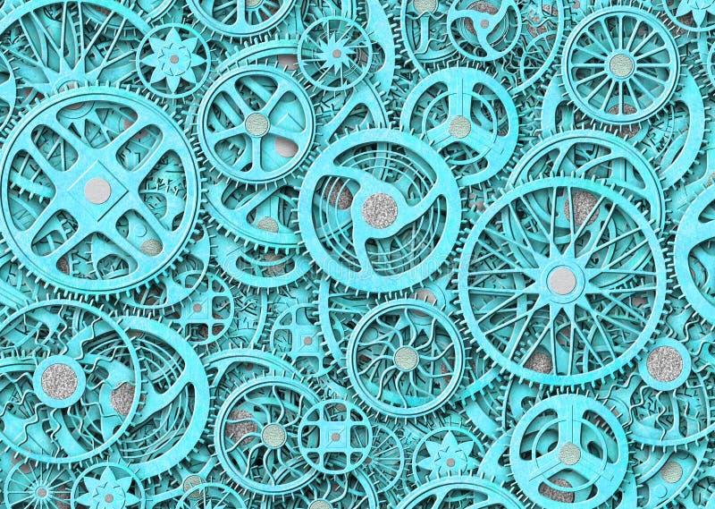 Industriella kugghjul bakgrund, plattor för texturgrungejärn stock illustrationer