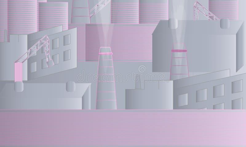 Industriella landskapgrå färger och rosa färger stock illustrationer