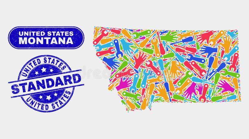 Industriella Montana State Map och skrapade standarda vattenstämplar för Förenta staterna royaltyfri illustrationer