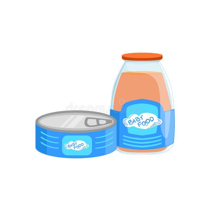 Industriella produkter, Tin Can With Meat And glasflaska med Juice Supplemental Baby Food Products som är tillåten för först royaltyfri illustrationer