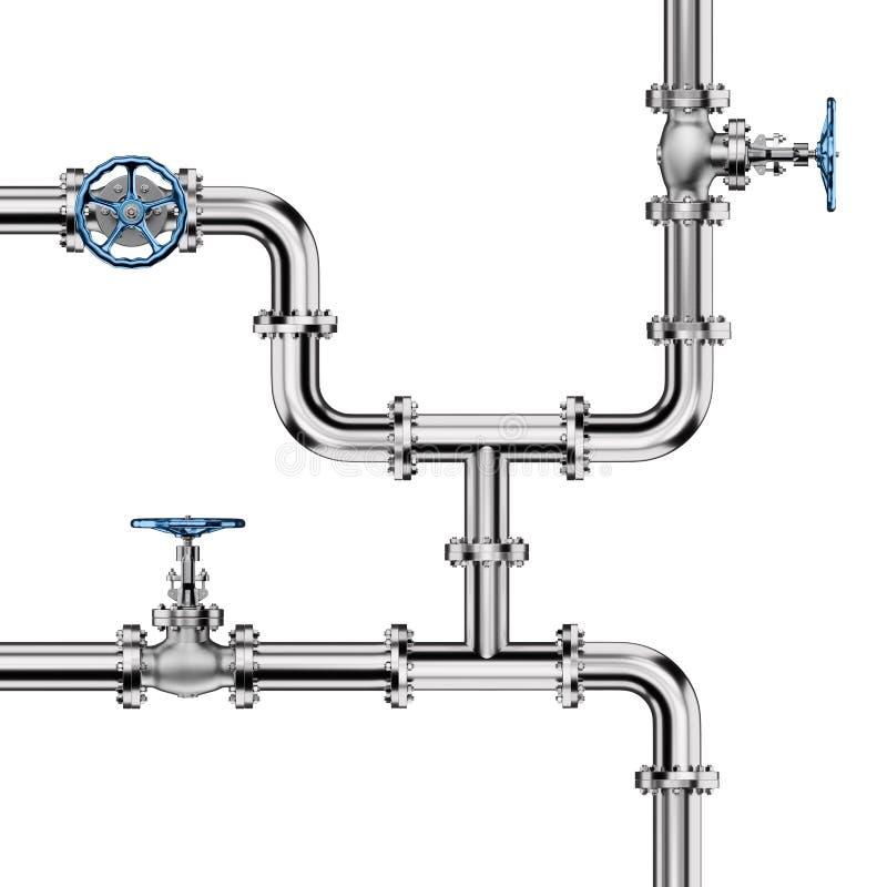 Industriella rör med ventiler på vit royaltyfri illustrationer