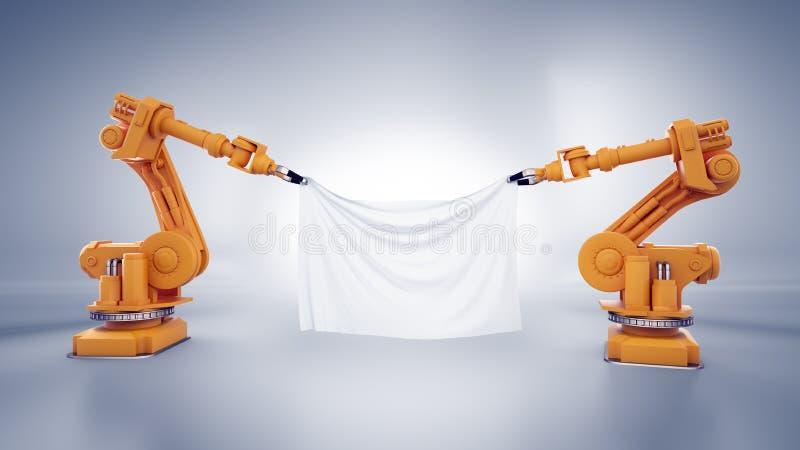 Industriella robotar med ett baner royaltyfri illustrationer