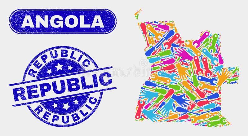 Industriella skyddsremsor för Angola översikts- och Grungerepublik royaltyfri illustrationer