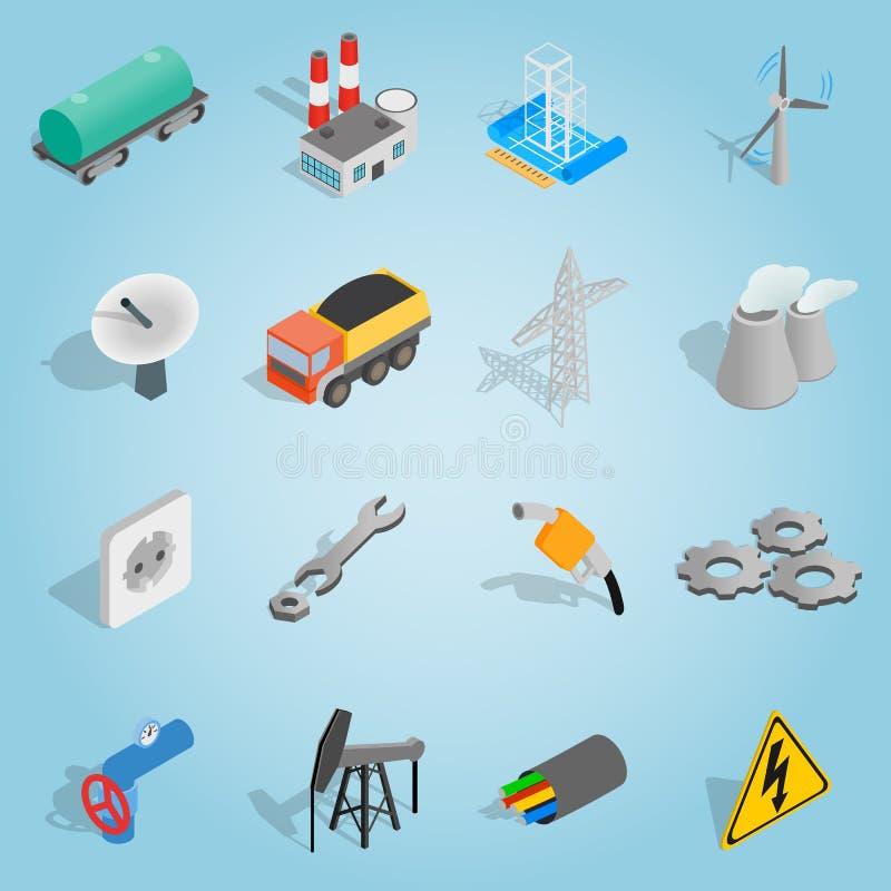 Industriella uppsättningsymboler, isometrisk stil 3d royaltyfri illustrationer