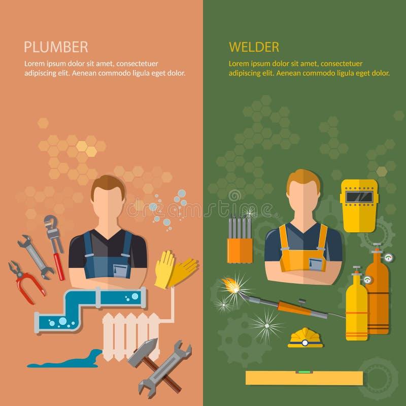 Industrielle Beruffahnen Klempner und Schweißer vektor abbildung