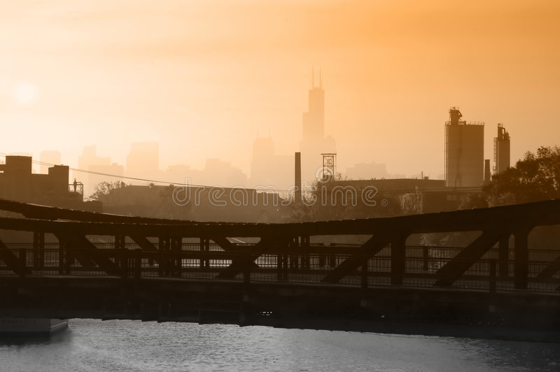 Industrielle Chicago-Skyline stockbilder