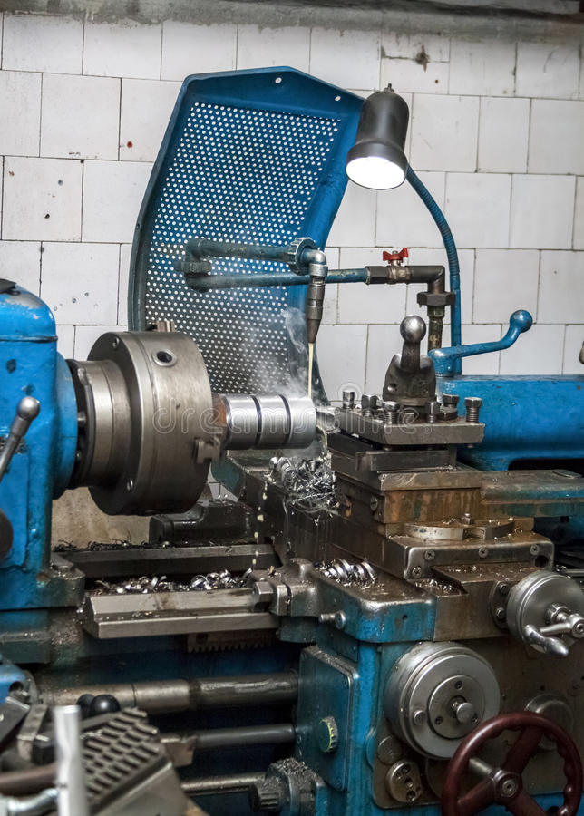 Industrielle Drehbank metallarbeits stockfoto