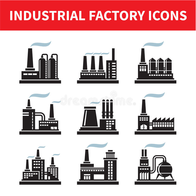 Industrielle Fabrik-Ikonen stock abbildung
