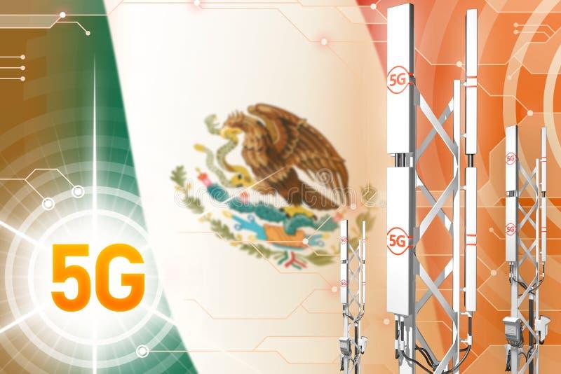 Industrielle Illustration Mexikos 5G, großer Mobilfunknetzmast oder Turm auf modernem Hintergrund mit der Flagge - Illustration 3 stock abbildung
