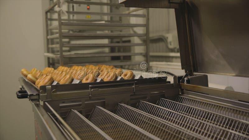 Industrielle Industrieproduktion von Schaumgummiringen szene Die Bäckereibrotindustrie, die Süßigkeitsfabrik, die Plätzchen und d lizenzfreies stockbild