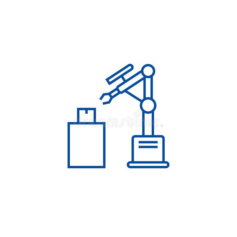 Industrielle Laser-Roboterlinie Ikonenkonzept Flaches Vektorsymbol industriellen Laser-Roboters, Zeichen, Entwurfsillustration vektor abbildung