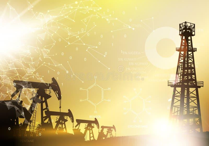 Industrielle Maschine des Erdölbohrturms für die Bohrung Erdölbohrturm infographic mit Stadien der Prozesserdölgewinnung Bohrung  vektor abbildung