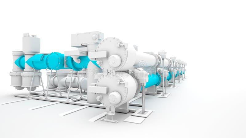 Industrielle Maschinerie übertragen auf weißem Hintergrund vektor abbildung