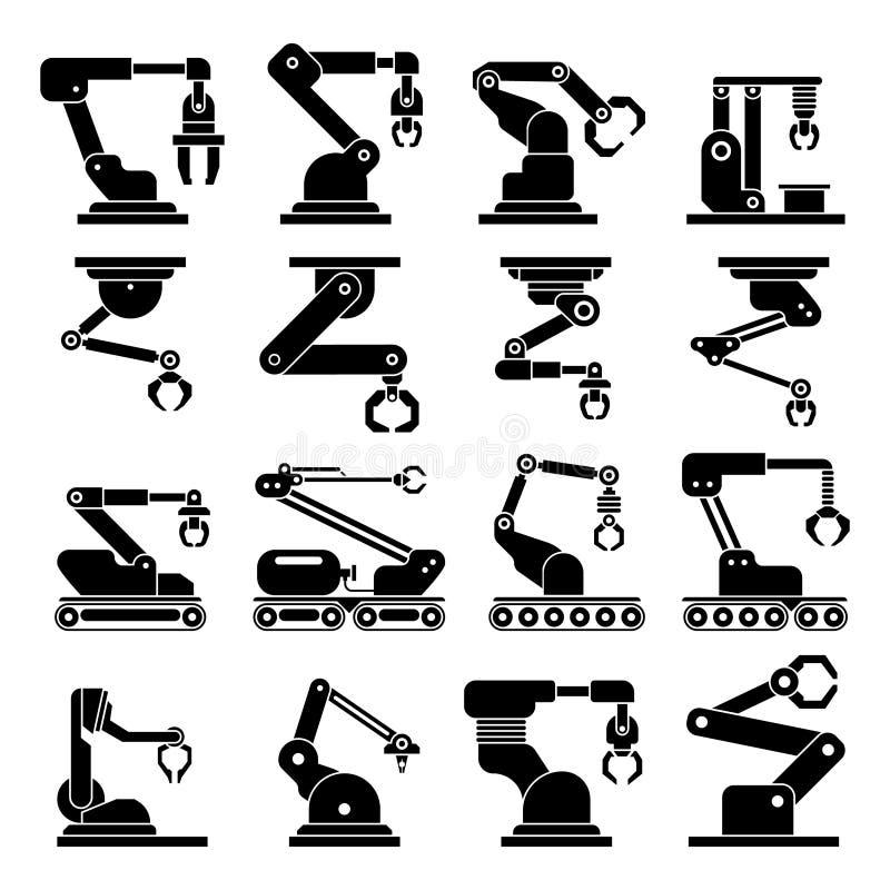 Industrielle mechanische Roboterarm-Vektorikonen stock abbildung
