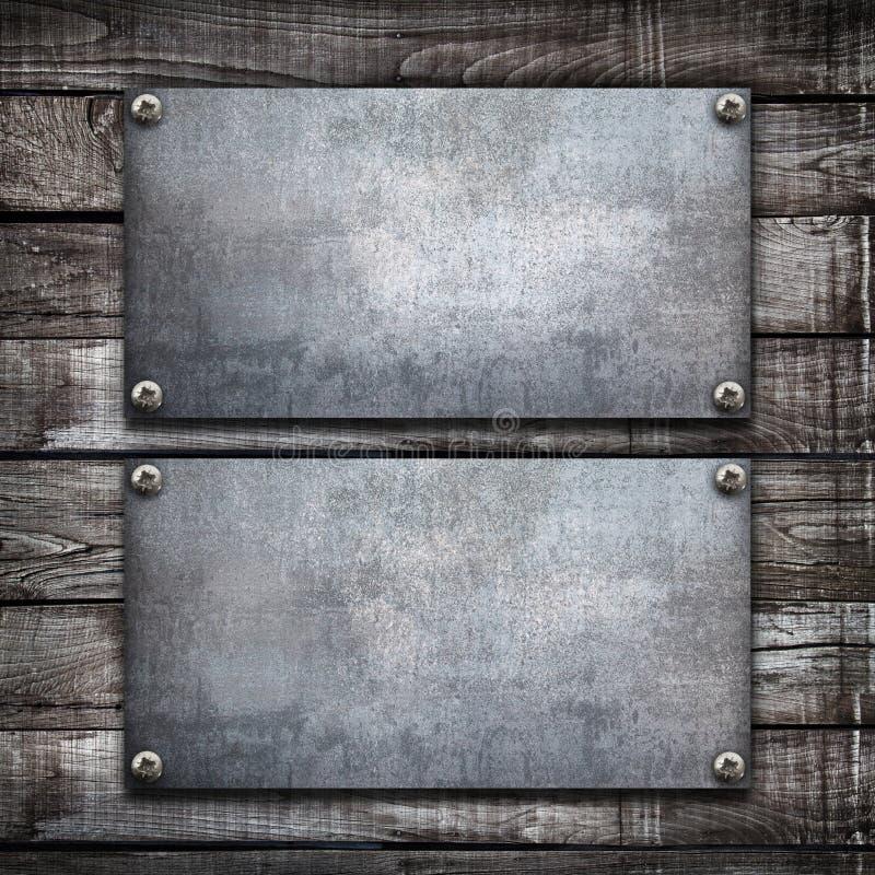 Industrielle Metallplatte auf einem h?lzernen Hintergrund vektor abbildung