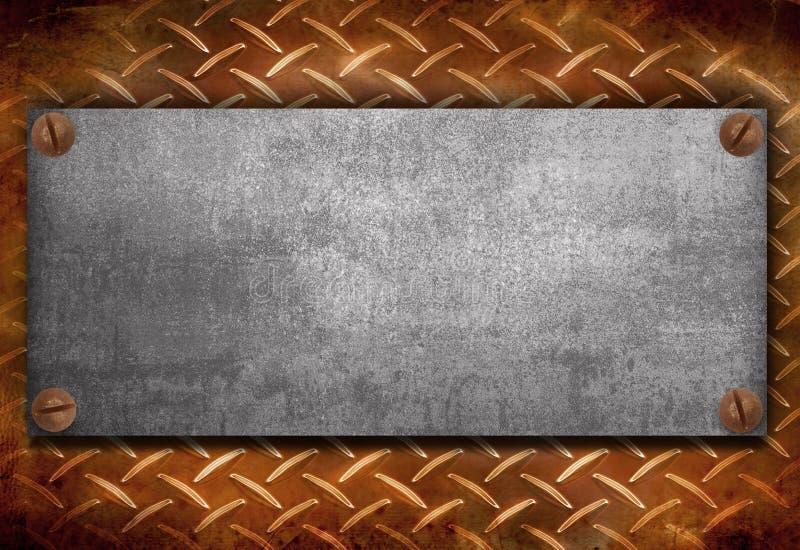 Industrielle Metallplatte auf einem Weinlesehintergrund lizenzfreie stockbilder