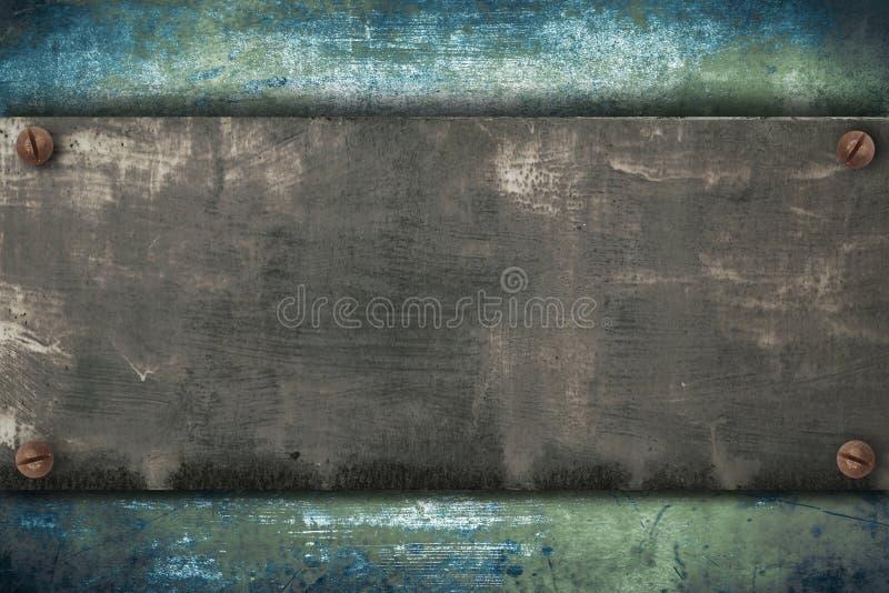 Industrielle Metallplatte auf einem Weinlesehintergrund lizenzfreie abbildung