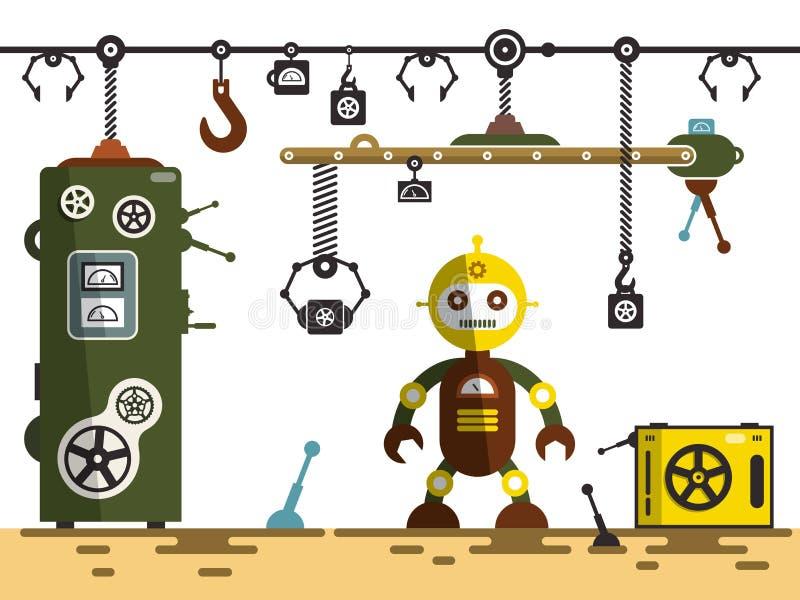 Industrielle Plattform mit der Transportmaschinerie benutzt, um verschiedene Stücke zu tragen Roboter mit Maschinen vektor abbildung