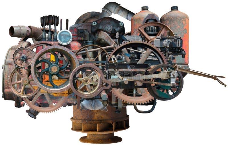 Industrielle Steampunk-Fabrik-Maschine lokalisiert lizenzfreie stockfotos