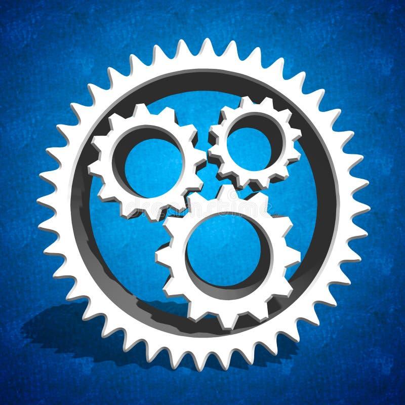 Industrielle Zahngänge auf blauem Hintergrund lizenzfreie stockfotografie