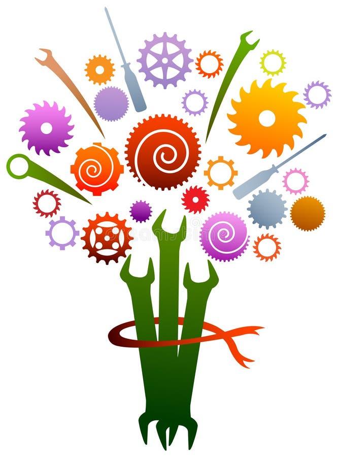Industrieller Blumenstrauß stock abbildung